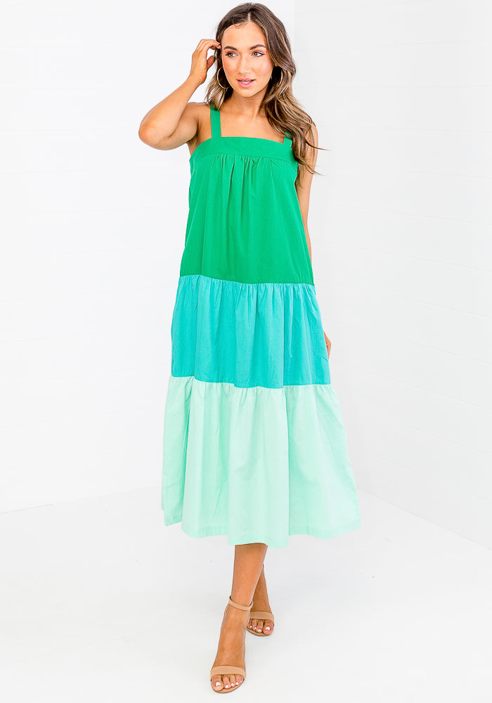 CLAUDIA -  COLOUR BLOCK MIDI - GREEN