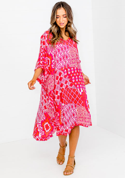 EVA FRILL EDGE PONCHO - PINK & ORANGE