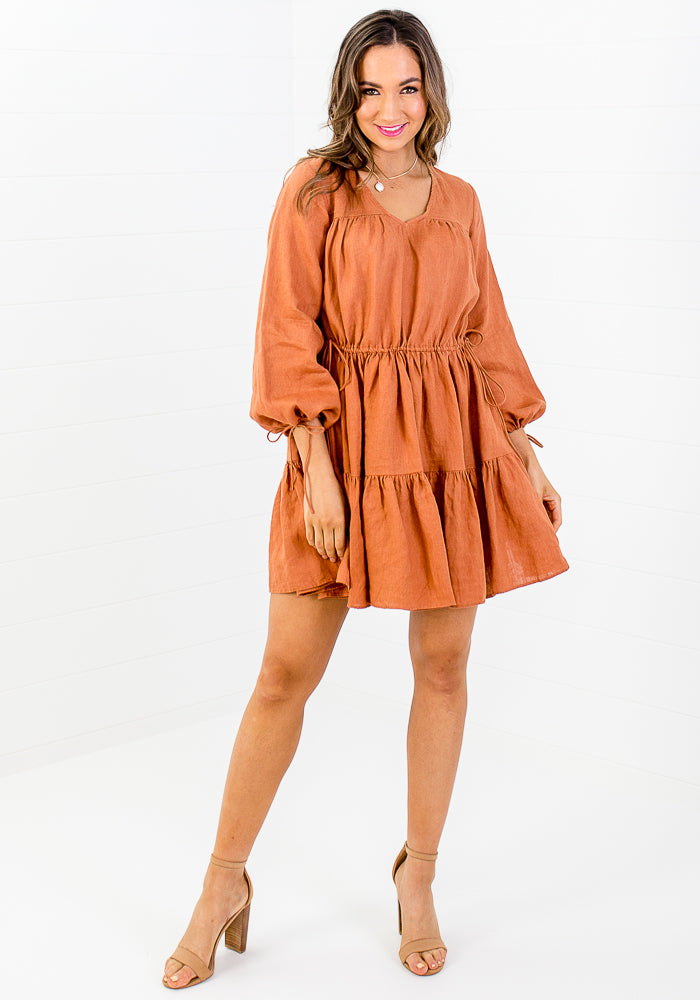 Load image into Gallery viewer, SORAYA TIERED MINI LINEN DRESS - RUST