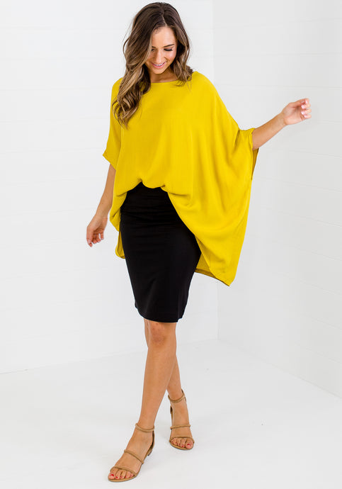 ESSENTIAL ELISE DRAPED TOP - MUSTARD YELLOW