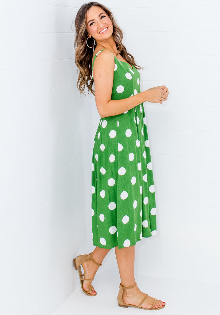 Load image into Gallery viewer, SOHO SPOT SWEETHEART NECKLINE DRESS - GREEN AND WHITE