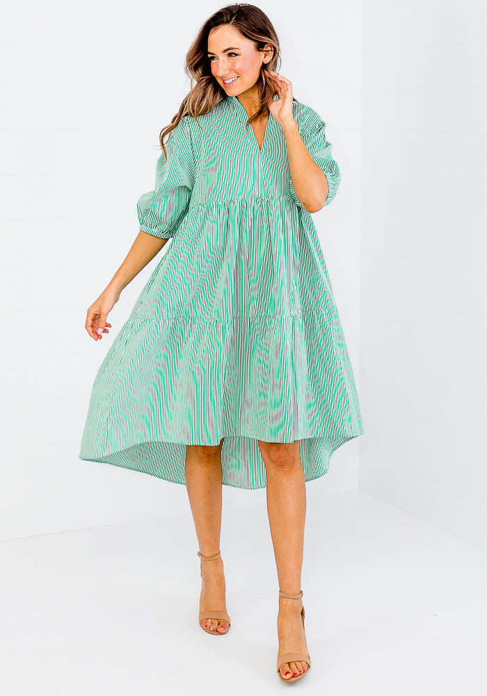 JOJO COTTON POPLIN DRESS - GREEN PINSTRIPE