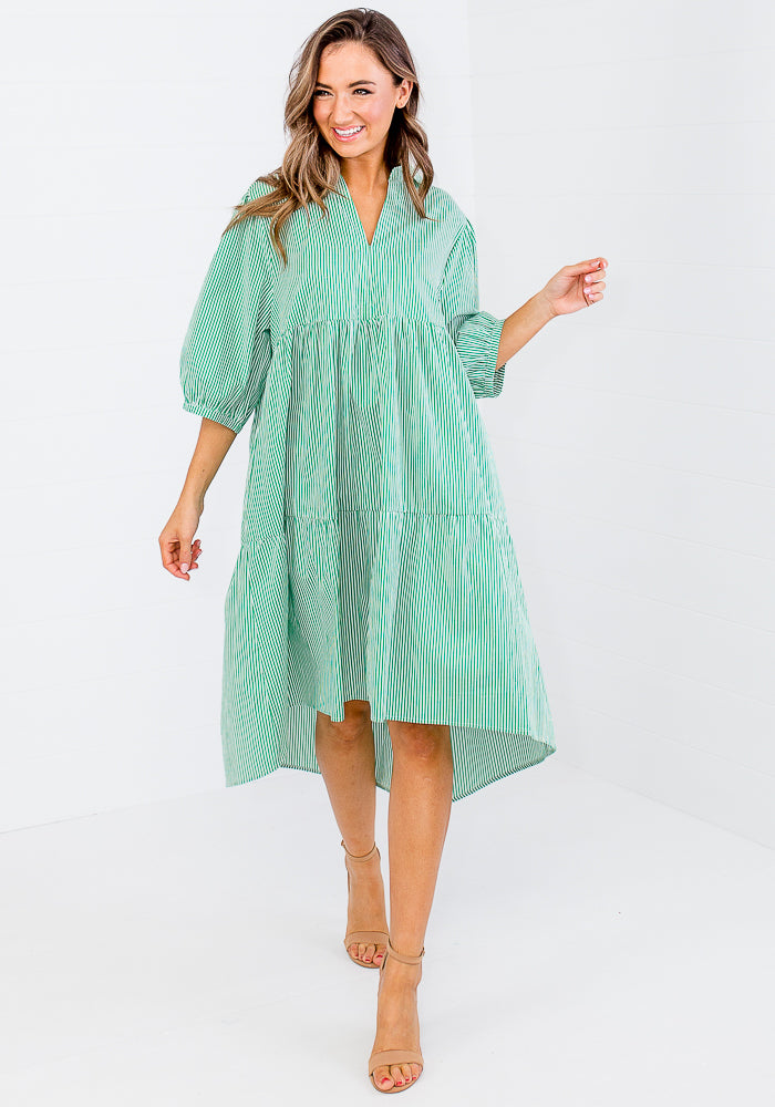 Load image into Gallery viewer, JOJO COTTON POPLIN DRESS - GREEN PINSTRIPE