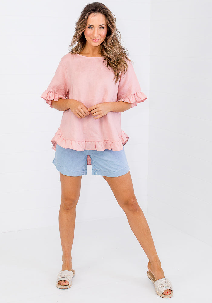 Load image into Gallery viewer, TORI RUFFLE EDGE BUTTON BACK LINEN TOP - BLUSH