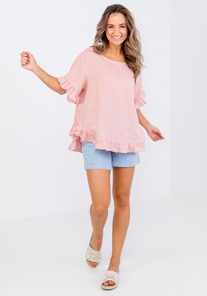 TORI RUFFLE EDGE BUTTON BACK LINEN TOP - BLUSH