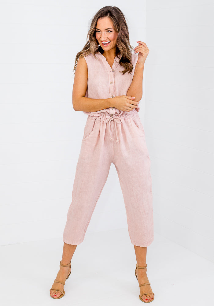 Load image into Gallery viewer, QUORA LINEN JUMPSUIT - SOFT PINK