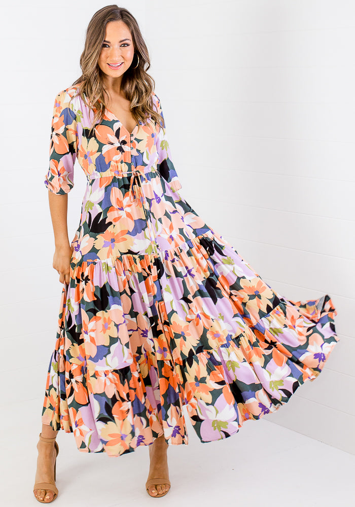 ALLISA BUTTON THROUGH TIE WAIST MAXI - FLORAL