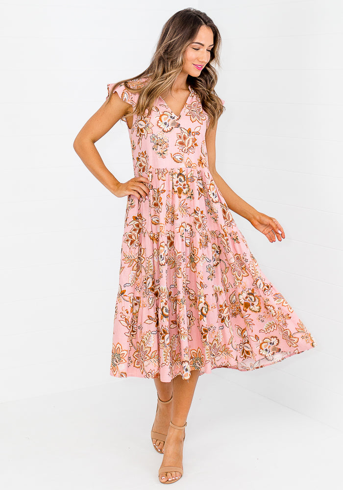 Load image into Gallery viewer, MAGGIE TIERED COTTON DRESS - PINK