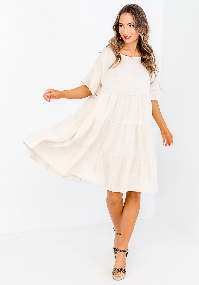 HOLLI TIERED LINEN DRESS - NATURAL