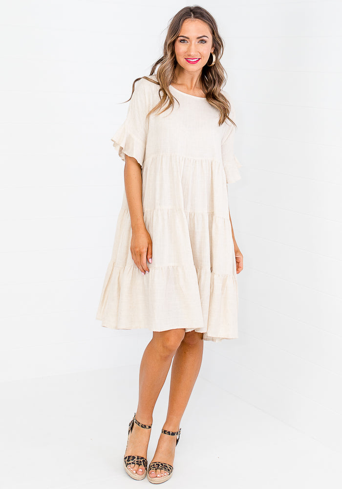 Load image into Gallery viewer, HOLLI TIERED LINEN DRESS - NATURAL