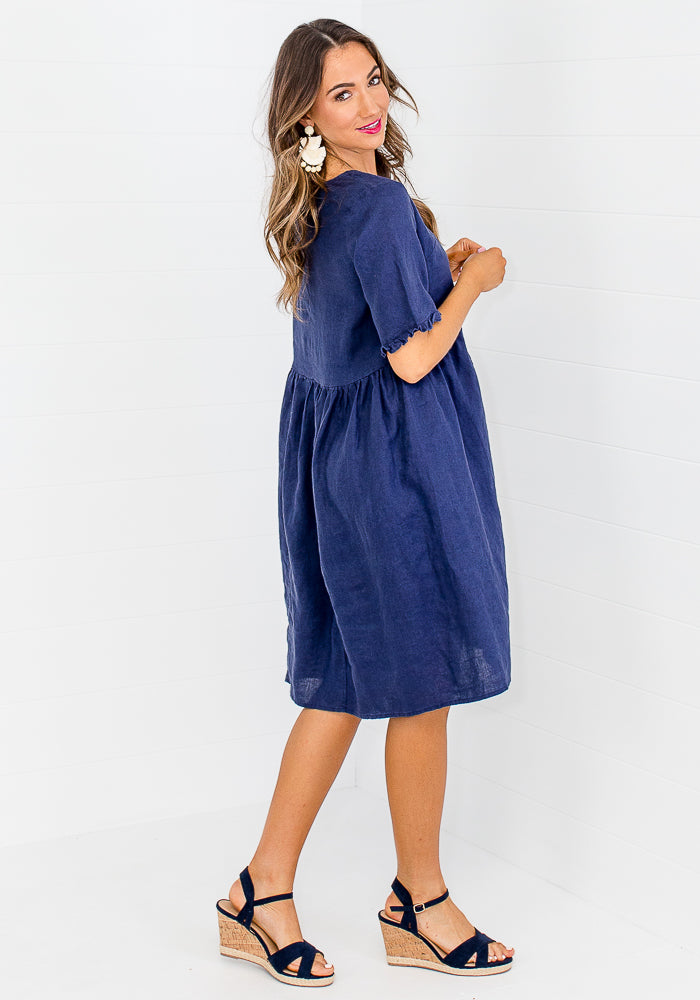 Load image into Gallery viewer, GIA LINEN DRESS - NAVY