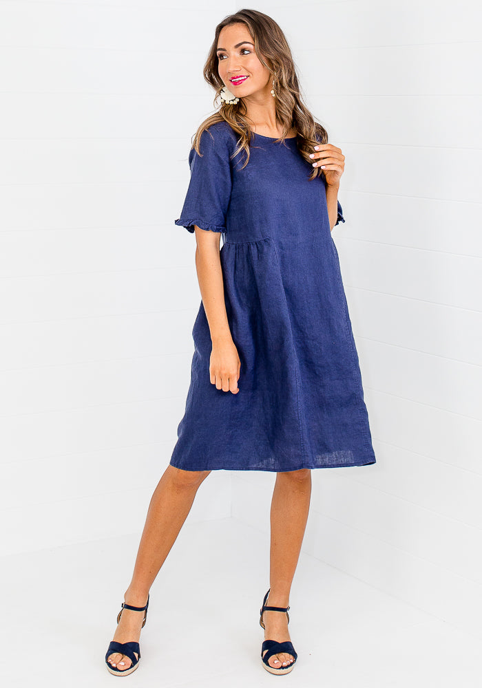 GIA LINEN DRESS - NAVY
