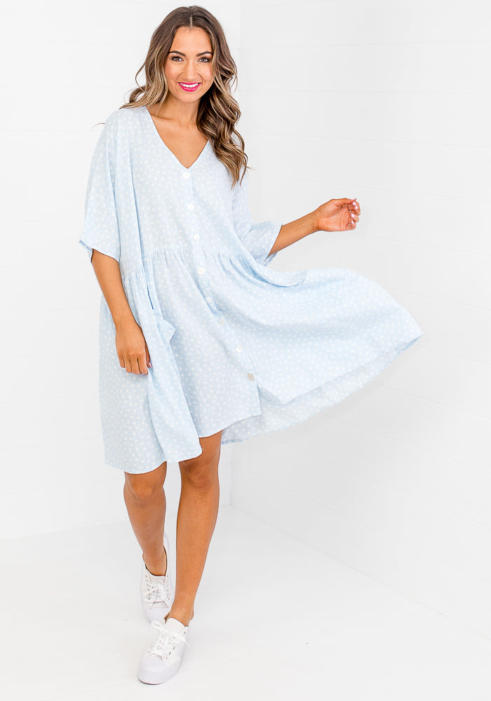 LONDYN BUTTON THROUGH LINEN DRESS - BABY BLUE