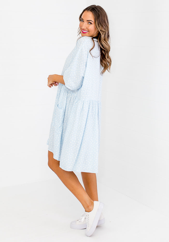 Load image into Gallery viewer, LONDYN BUTTON THROUGH LINEN DRESS - BABY BLUE