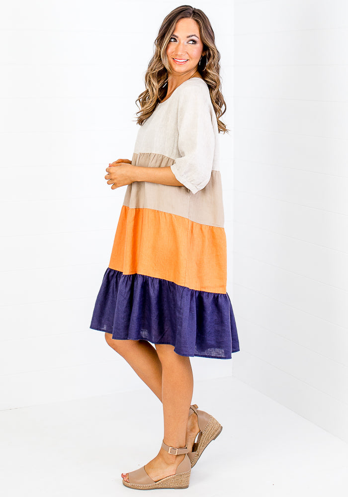 ZARAH SPLICED LINEN DRESS - NAVY & ORANGE
