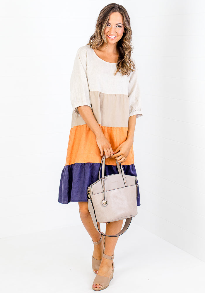 Load image into Gallery viewer, ZARAH SPLICED LINEN DRESS - NAVY & ORANGE