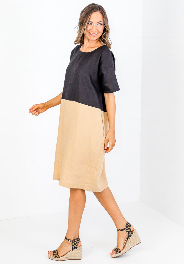 Load image into Gallery viewer, MAZ TWO TONE LINEN DRESS - BLACK AND CAMEL