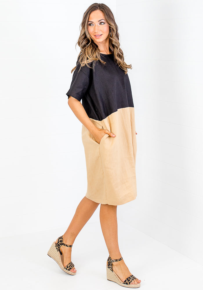 MAZ TWO TONE LINEN DRESS - BLACK AND CAMEL