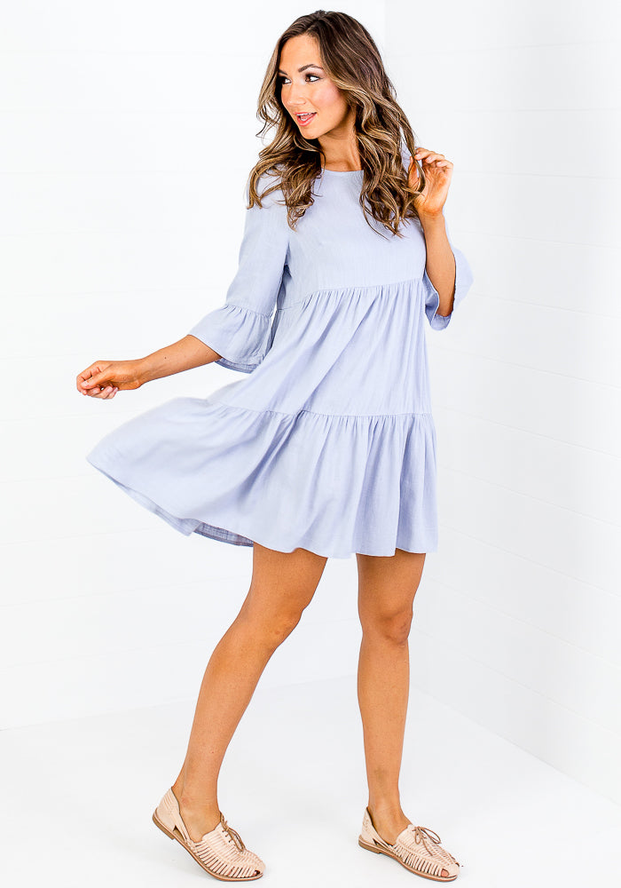 DAYA TIERED MINI DRESS - BLUE