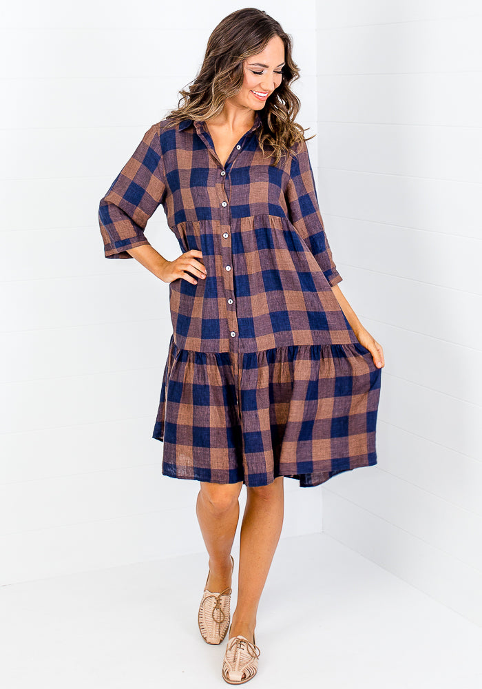 Load image into Gallery viewer, JULES GINGHAM LINEN SHIRT DRESS - CHOCOLATE & NAVY CHECK