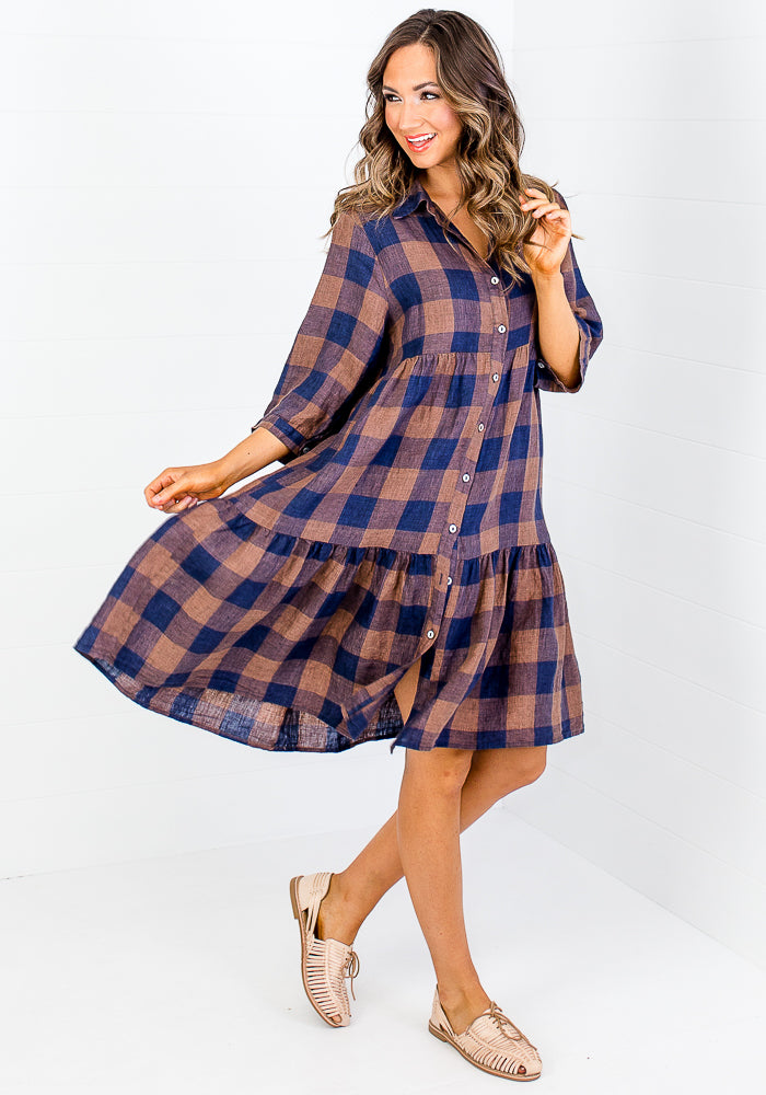 JULES GINGHAM LINEN SHIRT DRESS - CHOCOLATE & NAVY CHECK