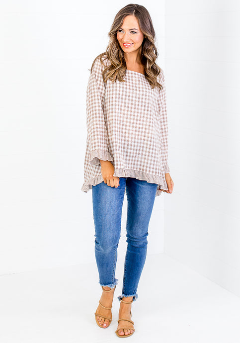CHELSIE GINGHAM CONTRAST FRILL TOP - BEIGE