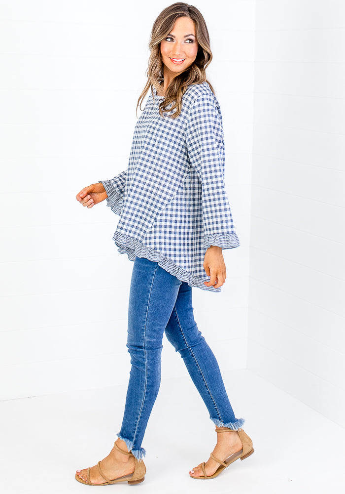 CHELSIE GINGHAM CONTRAST FRILL TOP - BLUE