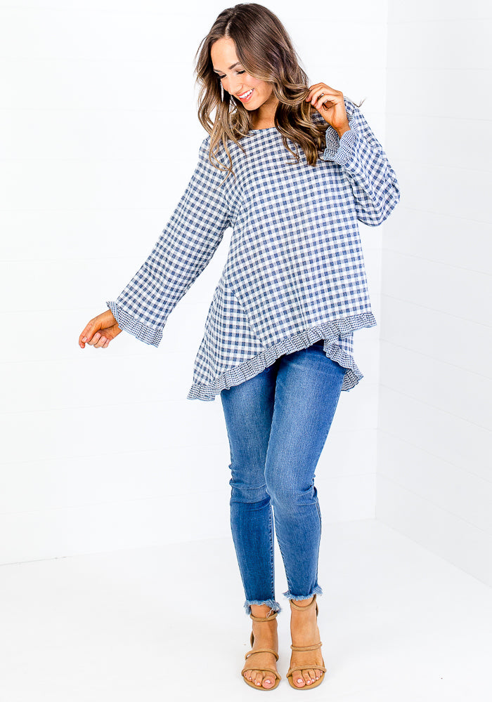 Load image into Gallery viewer, CHELSIE GINGHAM CONTRAST FRILL TOP - BLUE