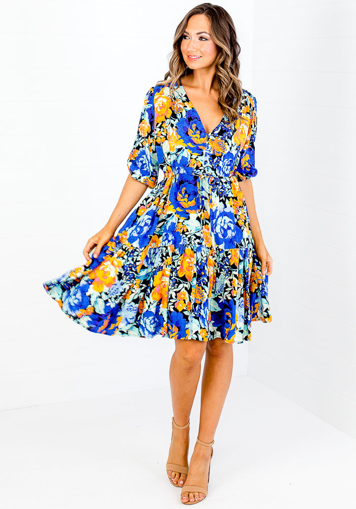 OLITA TIE WAIST DRESS - FLORAL PRINT