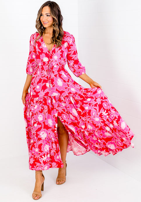 FLORENCE BUTTON THROUGH MAXI DRESS - PINK AND RED