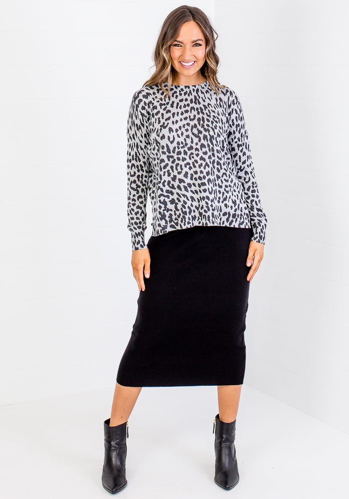 FALLON LEOPARD PRINT KNIT - BLACK