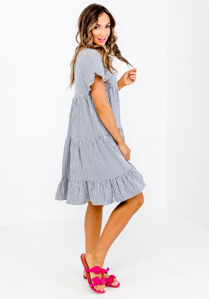 LEO INK NAVY GINGHAM CHECK TIERED DRESS