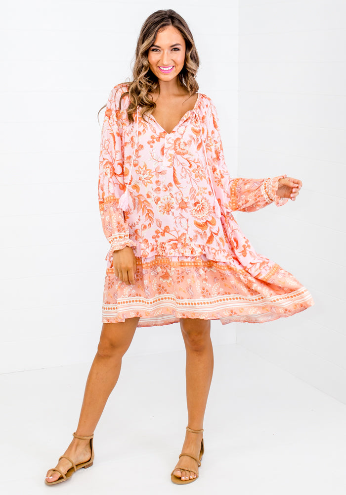 MACIE FLORAL COTTON DRESS - ORANGE AND PINK