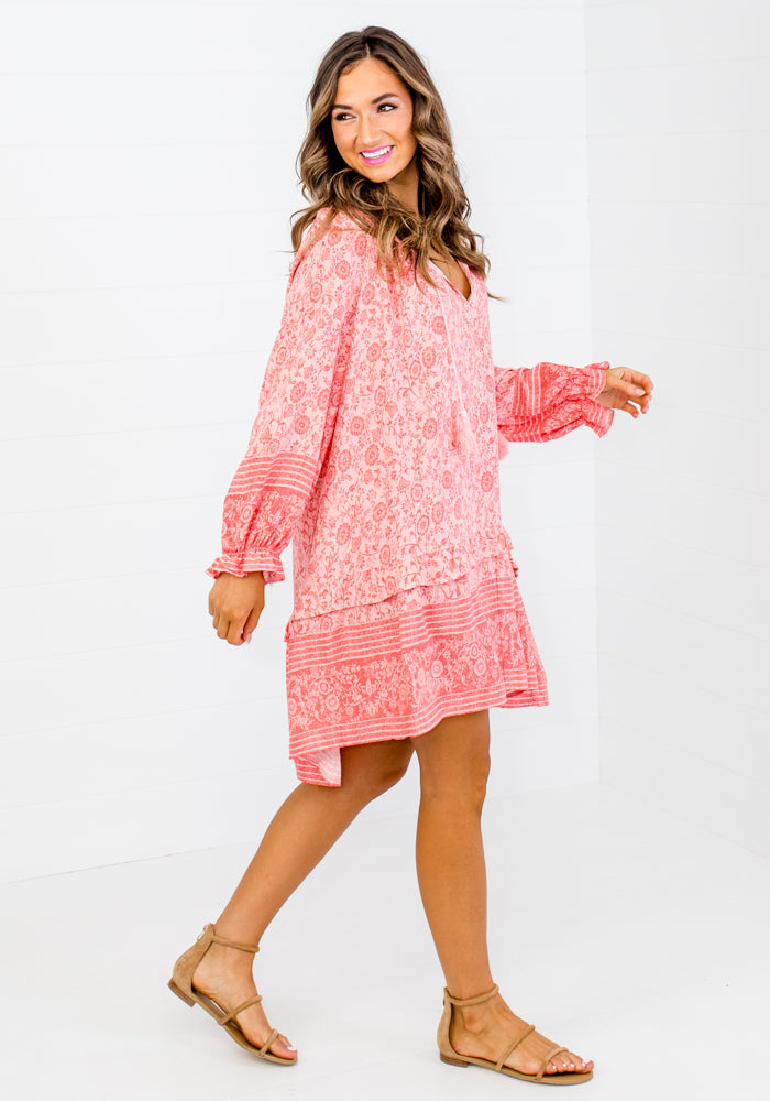 JENNI PEACH FLORAL COTTON DRESS