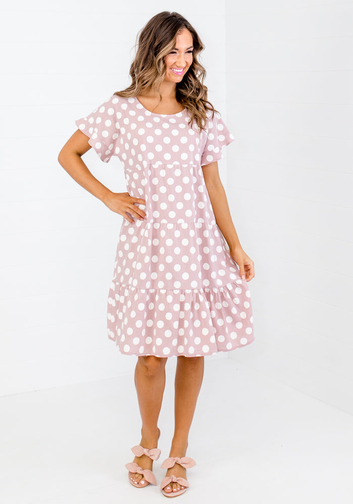 Load image into Gallery viewer, HADDIE TIERED SPOT DRESS - PINK