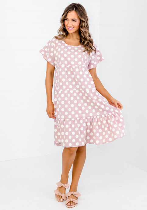 HADDIE TIERED SPOT DRESS - PINK