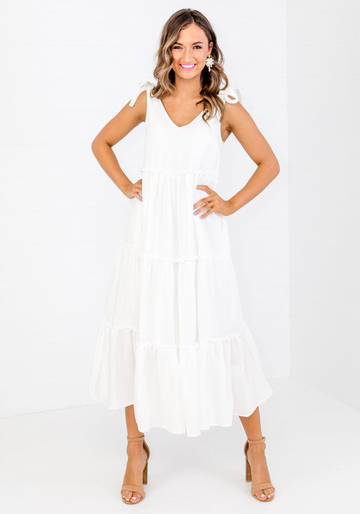 CLARENCE TIE SHOULDER TIERED MIDI - WHITE