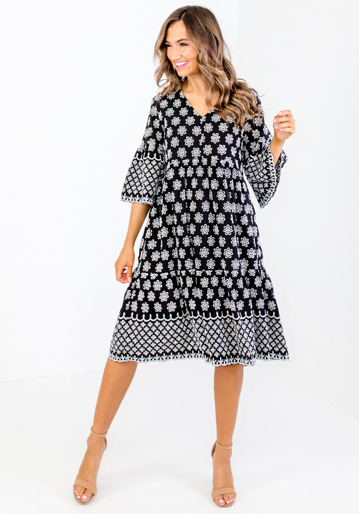 RENEE BLACK AND WHITE ANGLAISE DRESS