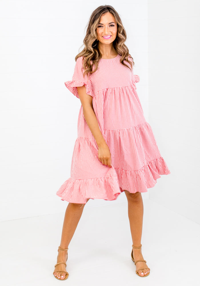 Load image into Gallery viewer, LEO RED GINGHAM CHECK TIERED DRESS