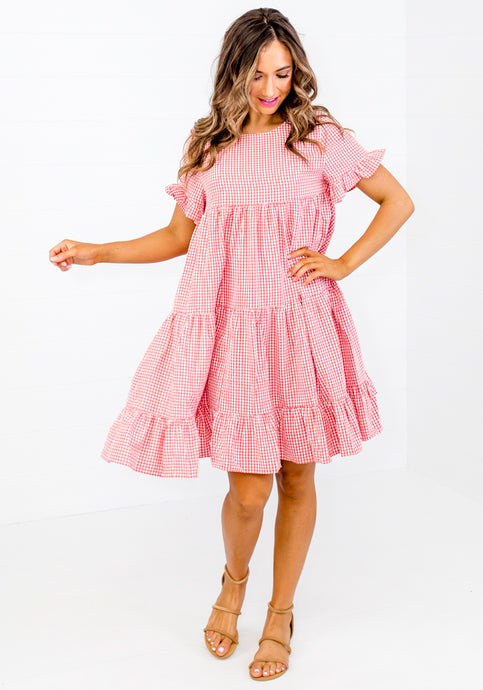 LEO RED GINGHAM CHECK TIERED DRESS