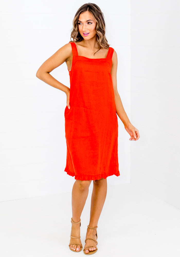BROOKE LINEN MINI RED DRESS