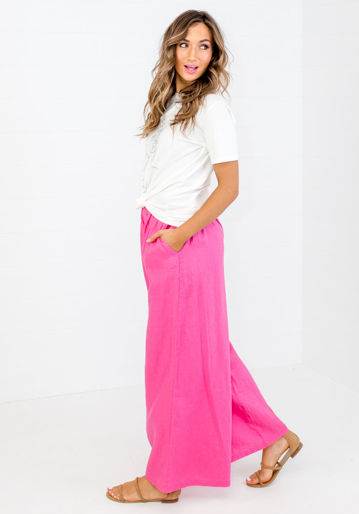 PINK PENNY WIDE STRAIGHT LEG LINEN PANTS