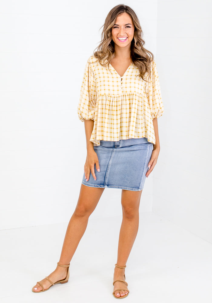Load image into Gallery viewer, MAXIE GINGHAM BUTTON TOP - MUSTARD