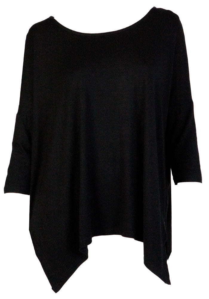 MODAL LOOSE SIDE SPLIT TEE - BLACK