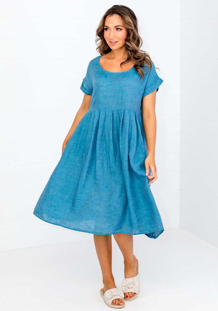 TAMMY LINEN DRESS - TEAL