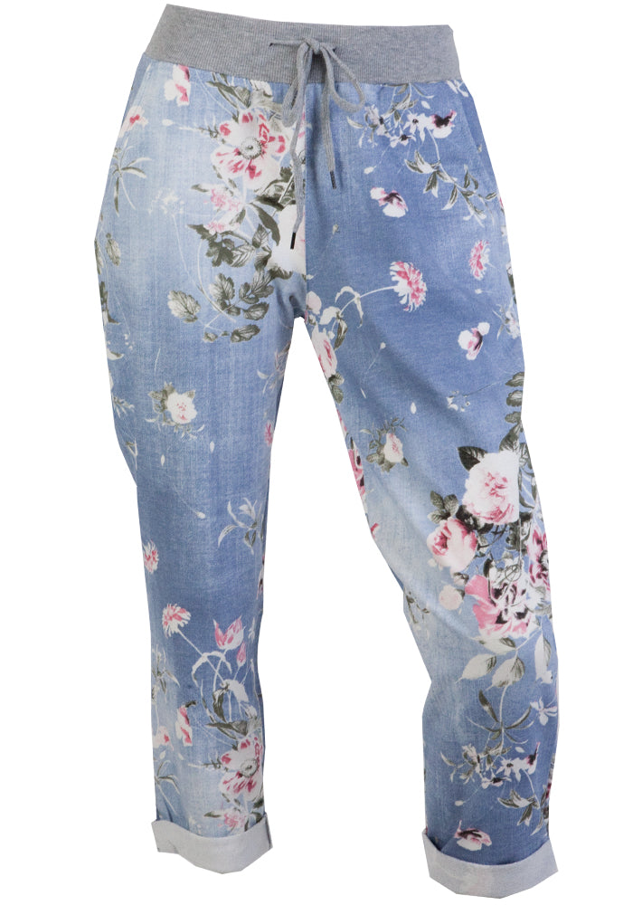 LIPARA PULL ON PANT - LIGHT WASH FLORAL