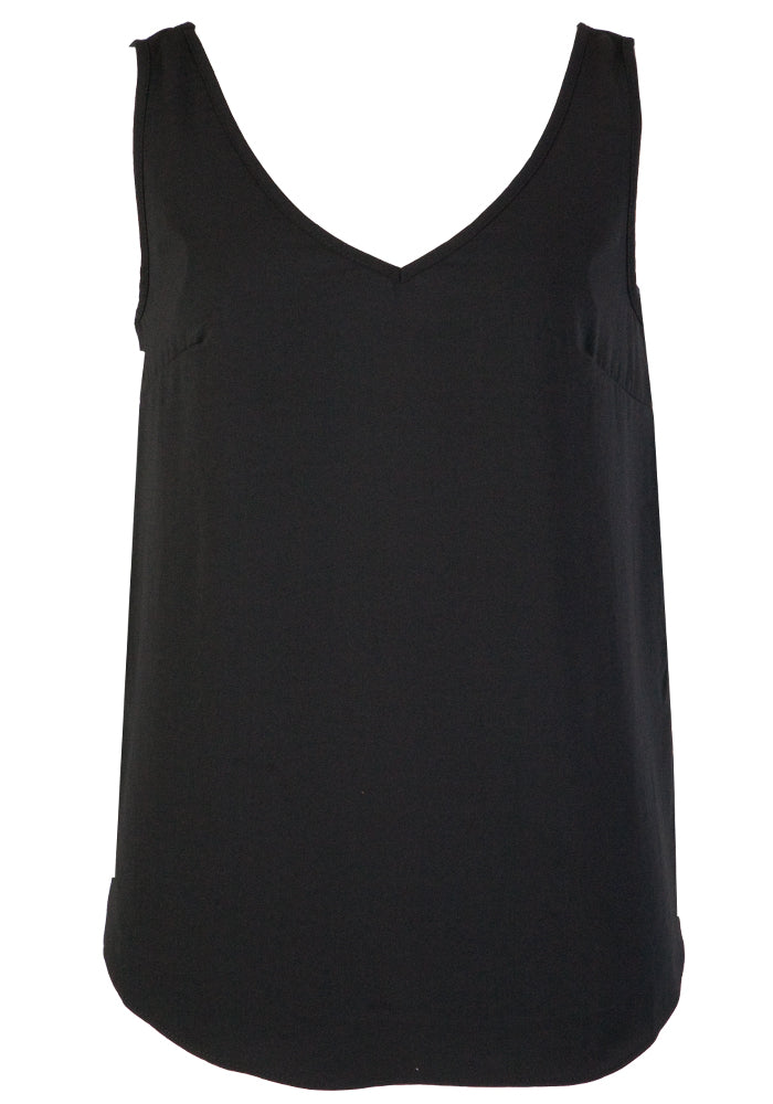 TILDA V NECK CAMI - BLACK