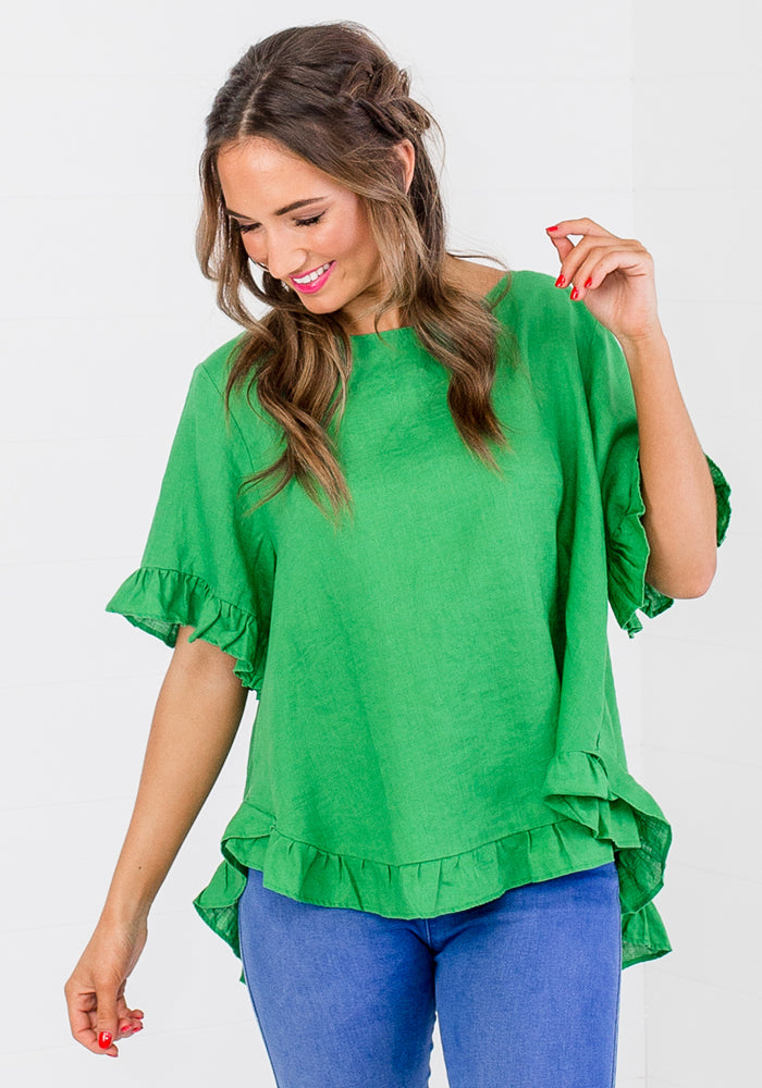 Load image into Gallery viewer, TORI RUFFLE EDGE BUTTON BACK TOP - GREEN
