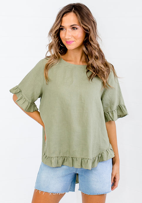 TORI RUFFLE EDGE BUTTON BACK LINEN TOP - KHAKI