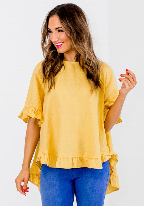 TORI RUFFLE EDGE BUTTON BACK TOP - MUSTARD